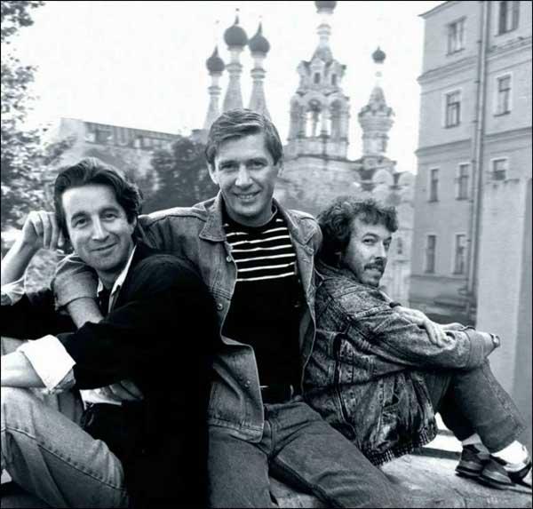 Леонид Ярмольник, Александр Абдулов и Андрей Макаревич, 1987 год.