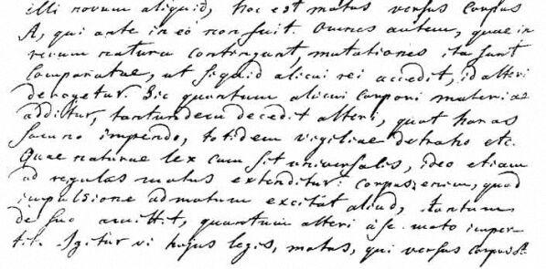 Страница из письма М. В. Ломоносова к Л. Эйлеру от 5 июня 1748 с формулировкой на латинском языке всеобщего принципа сохранения материи и движения.
