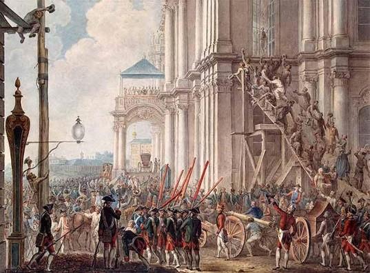 Екатерина II на балконе Зимнего дворца, в день переворота 28 июня 1762 года.