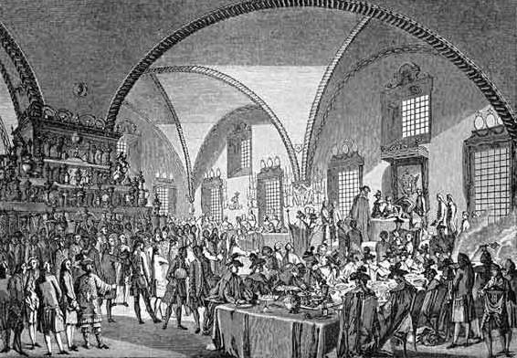 Венчание на царствие Екатерины II. 22 сентября 1762. Парадный обед в Грановитой палате.