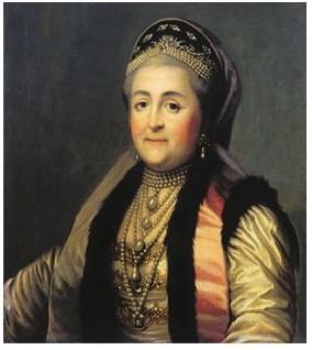 Портрет Екатерины 2 в шугае и кокошнике.