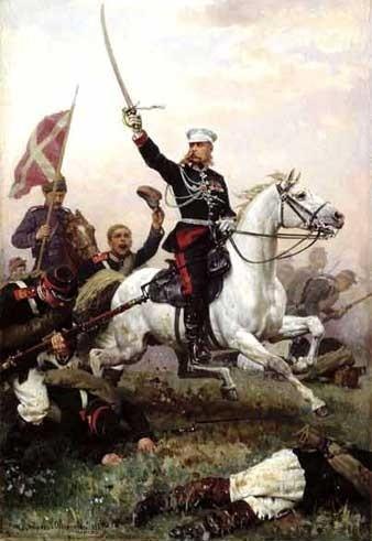 Генерал Михаил Скобелев на коне.